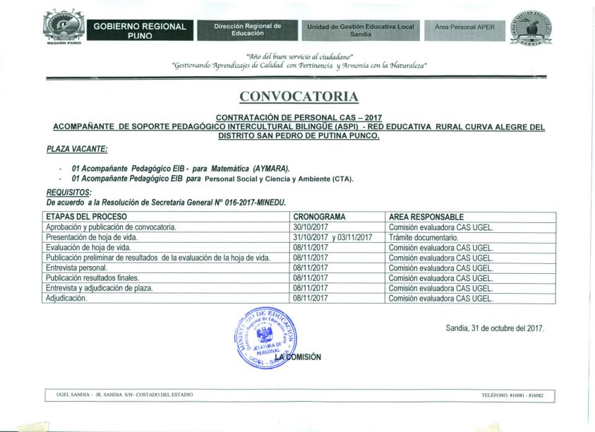 Ugel sandia inicio for Convocatoria de plazas docentes 2017